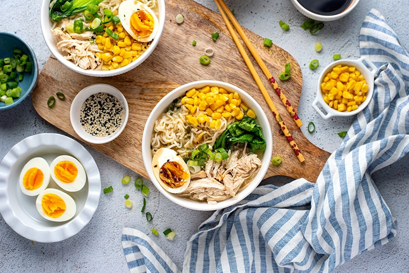 Instant Pot chicken ramen noodles with miso and sweet corn
