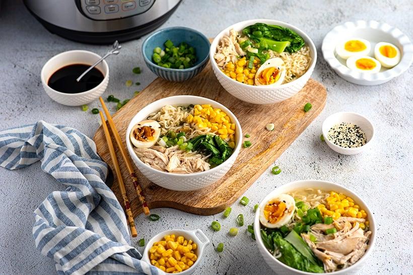 Instant Pot miso ramen noodles with chicken
