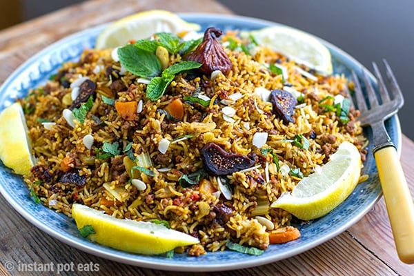 INSTANT POT PILAF WITH GROUND LAMB, ALMONDS & FIGS