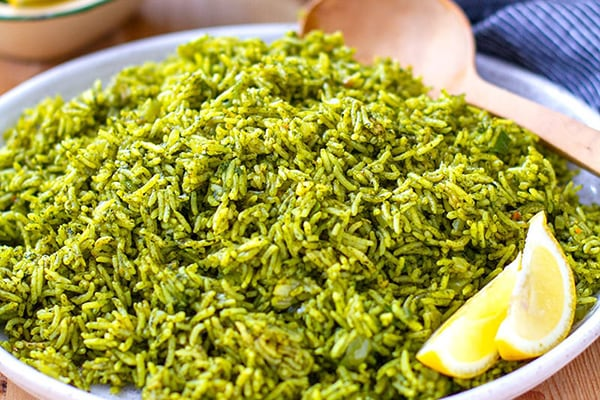 INSTANT POT SPINACH RICE (INDIAN PALAK PULAO)