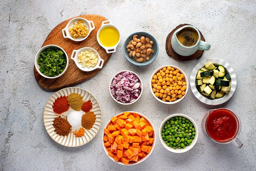 Ingredients for vegan tikka masala in the Instant Pot