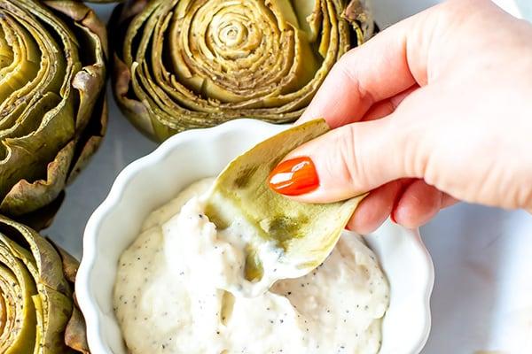 Instant Pot Artichokes + Creamy Garlic Dip
