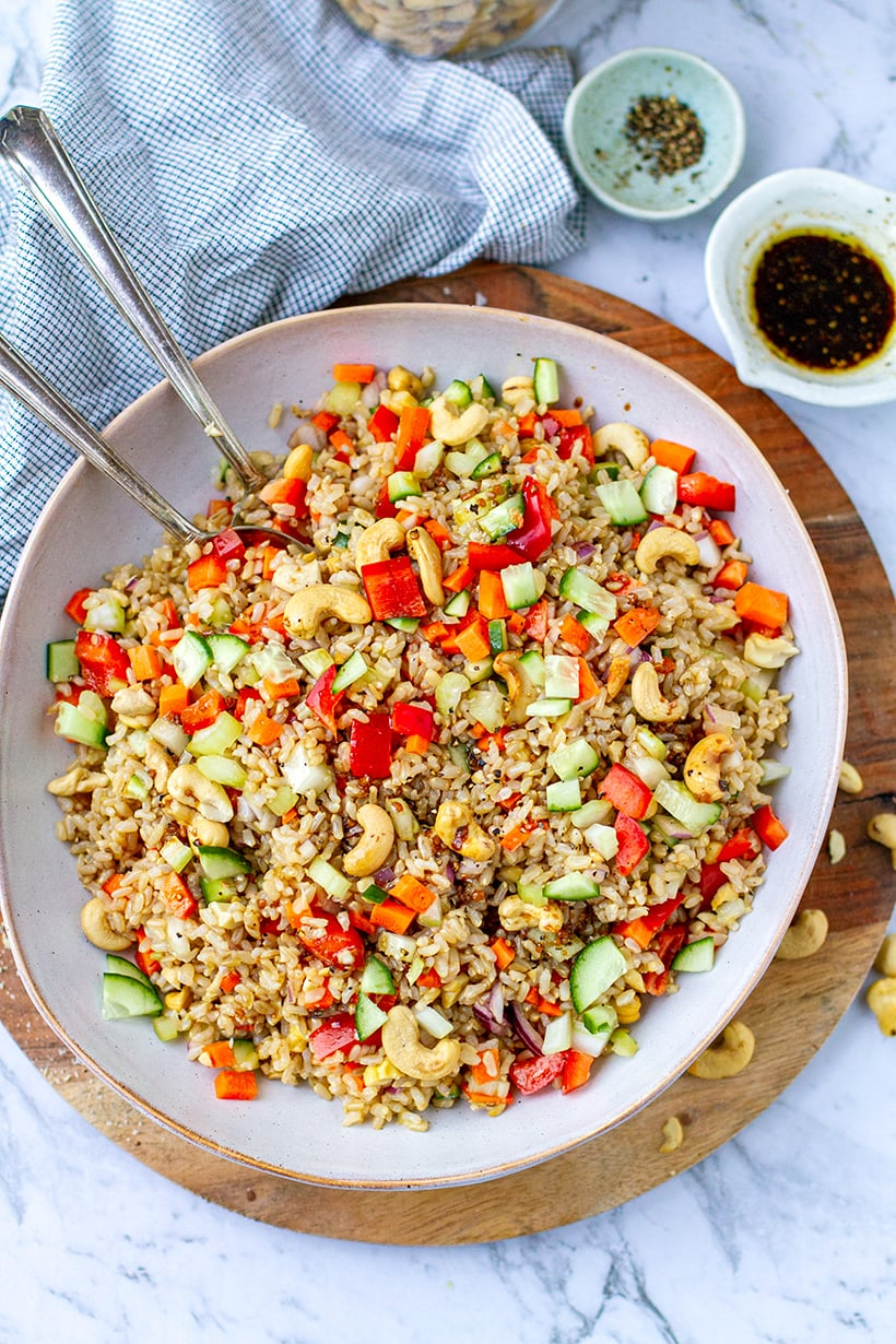 Brown Rice Cashew Salad With The Instant Pot (or Stovetop)