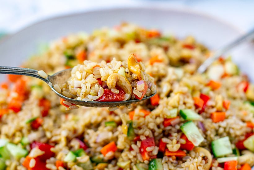 Brown Rice Salad With Cashews & Crunchy Vegetables