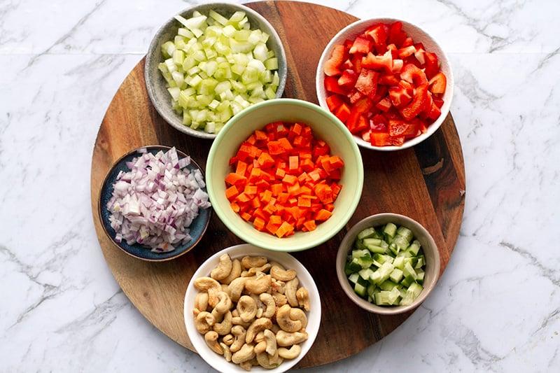 Vegetables for brown rice salad