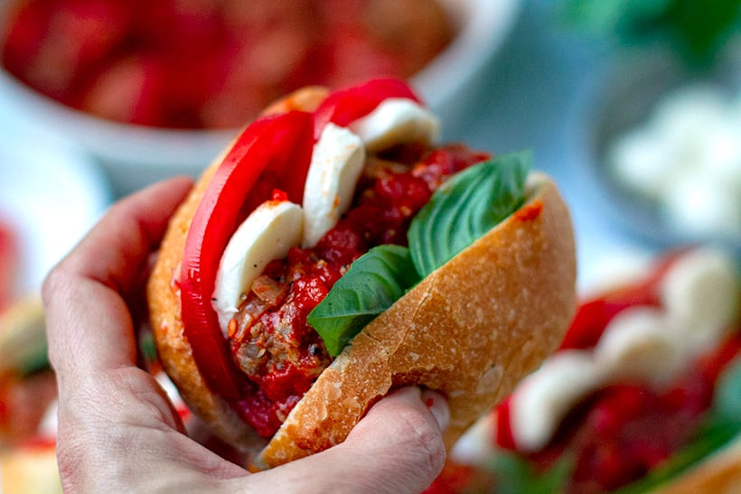 Assemble the Caprese meatball sandwiches