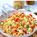 Brown Rice & Cashew Salad With Balsamic Soy Dressing