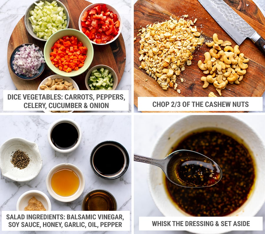 Preparing the brown rice salad ingredients while rice is cooking