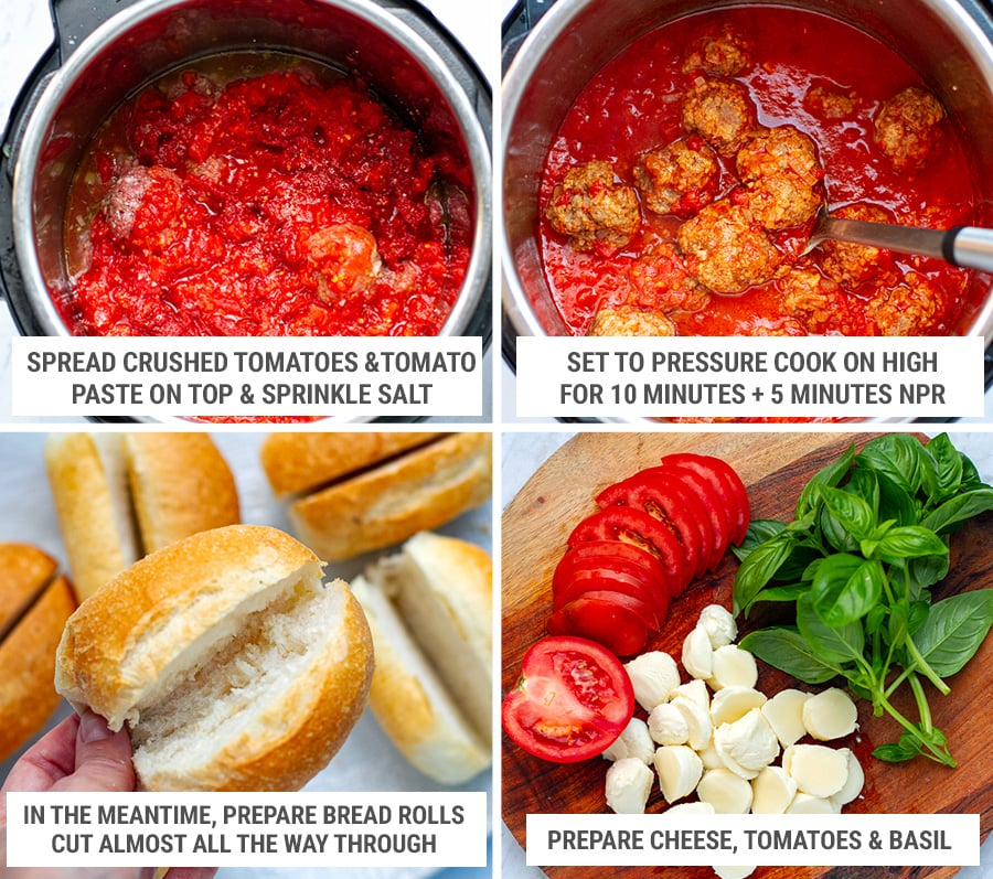Making Italian meatballs in Instant Pot for Caprese sandwiches