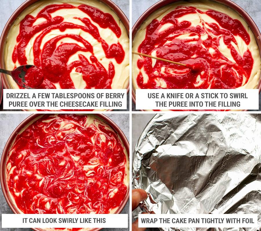 Making raspberry swirl topping on the cheesecake