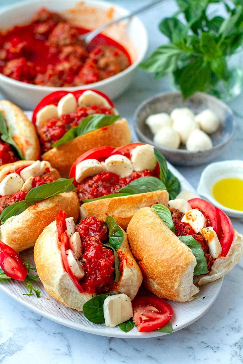 Instant Pot Tomato Meatball Sandwiches Caprese Style