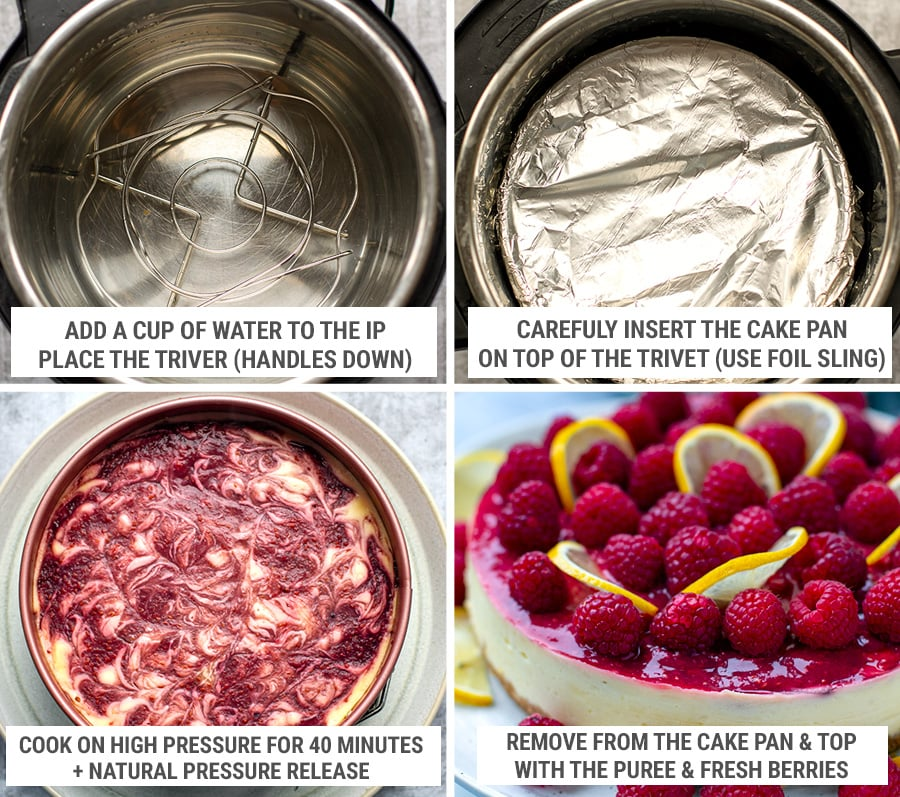 Pressure cooking and finishing the raspberry cheesecake