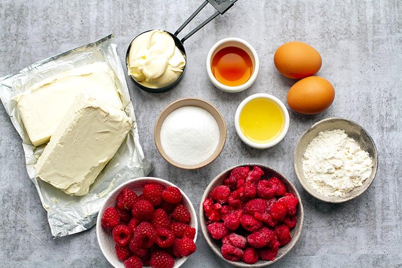 Raspberry cheesecake ingredients