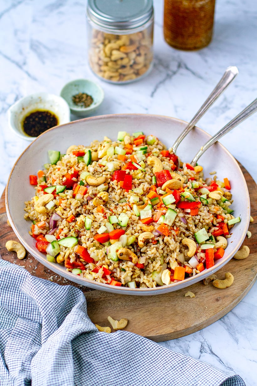 Brown Rice & Cashew Nut Salad With Balsamic Soy Dressing