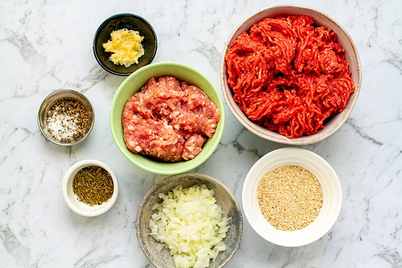 Italian meatball ingredients with beef and pork