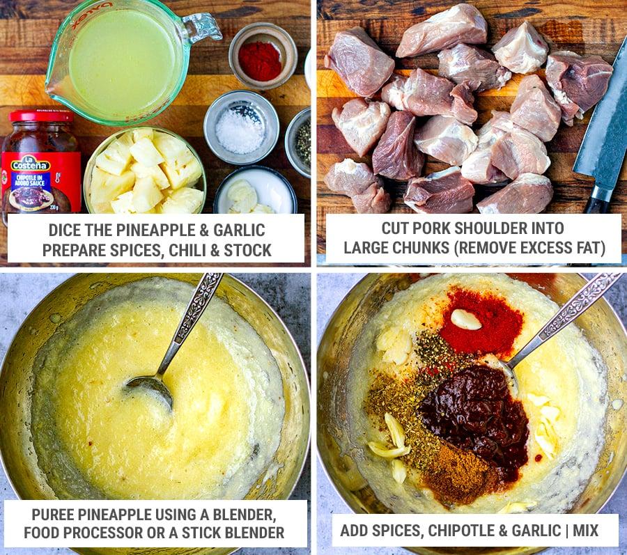 Al pastor marinade and pork shoulder pieces