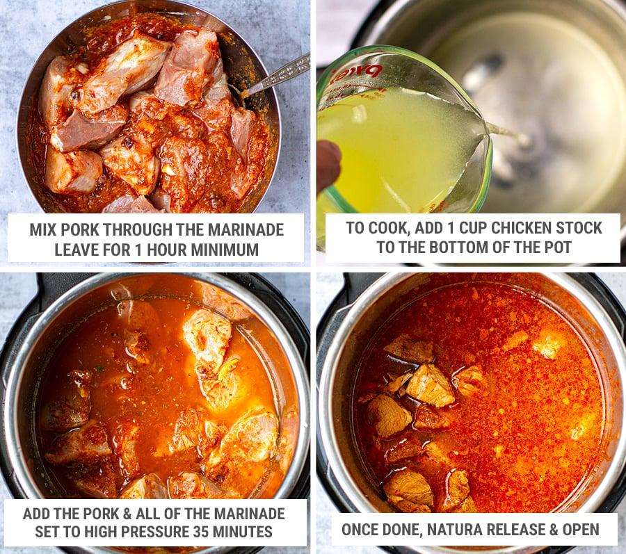 Instant Pot pork al pastor step 2 - cooking the meat