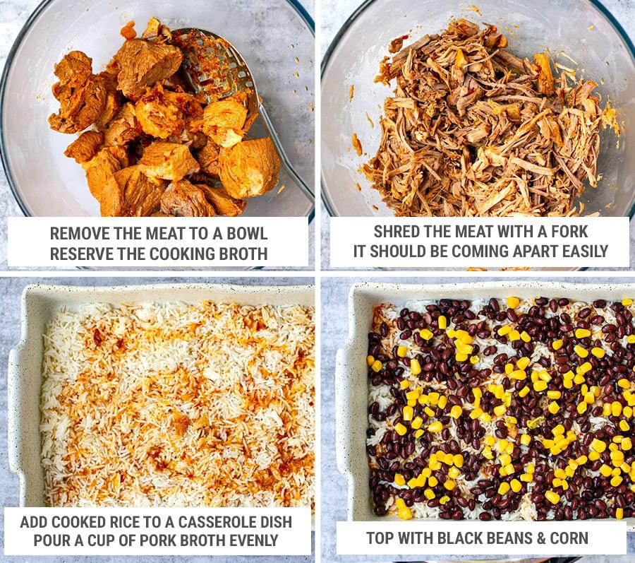 Pork and rice casserole with al pastor pork step 3