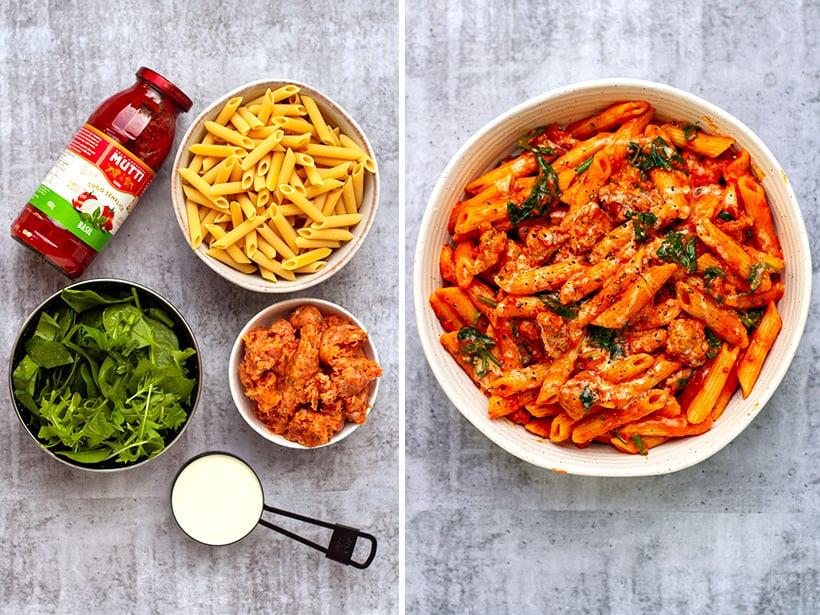 Ingredients for creamy Italian sausage pasta