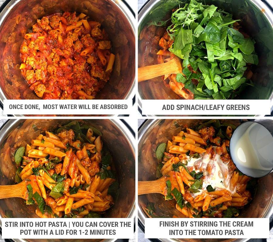 Making creamy tomato pasta with sausage in Instant Pot steps 2