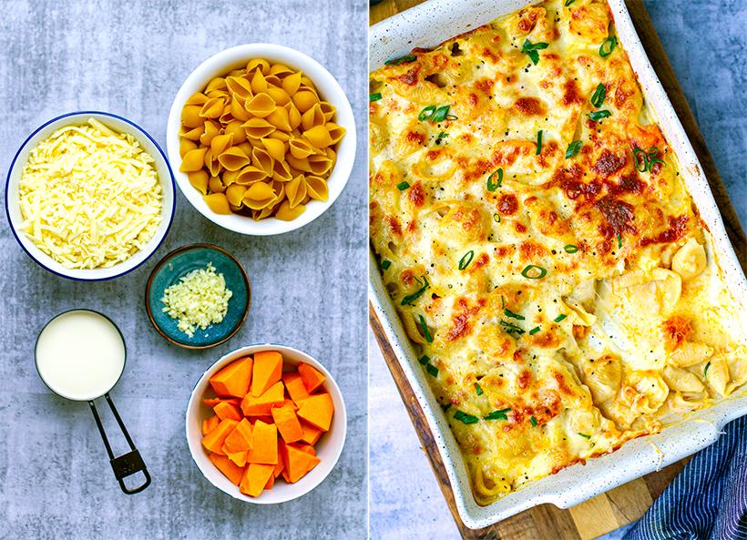 Pumpkin pasta bake ingredients