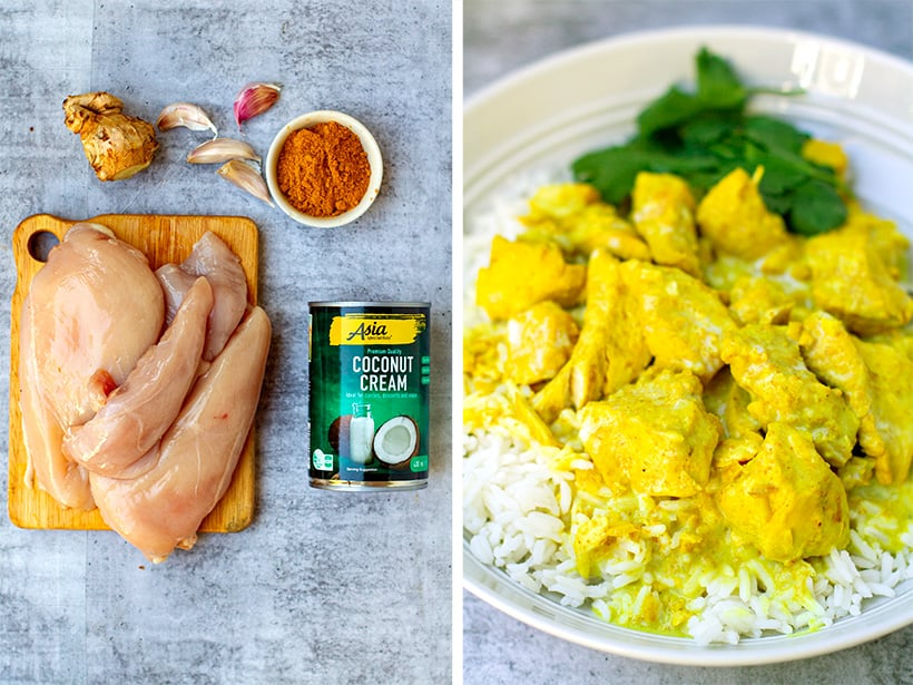 Coconut chicken curry ingredients