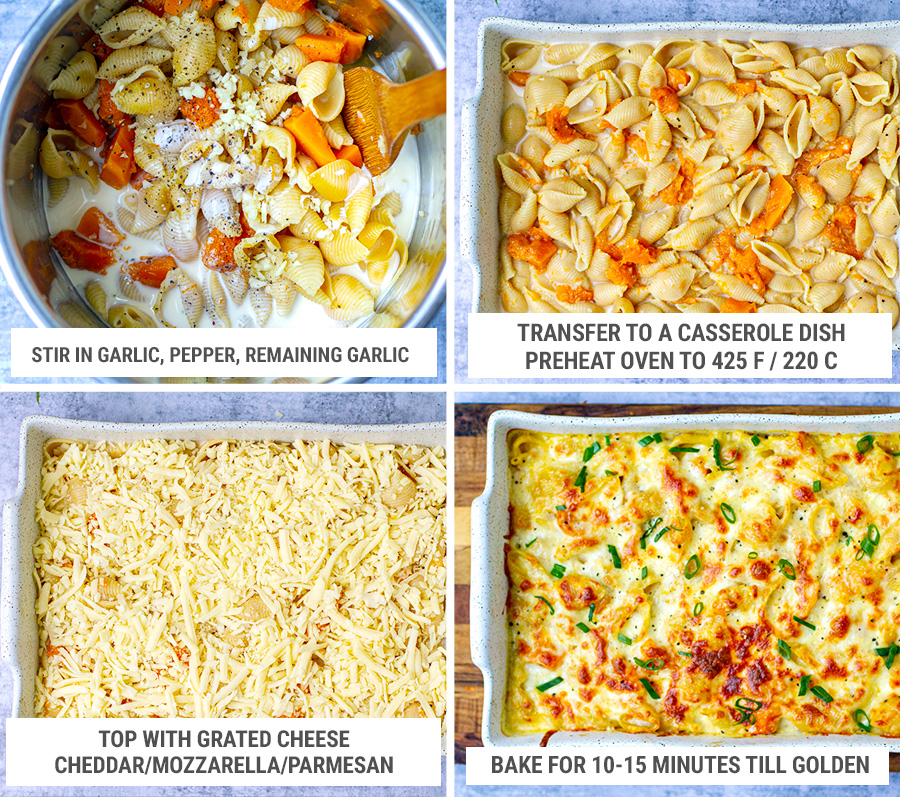 Pumpkin pasta bake with Instant Pot and oven steps