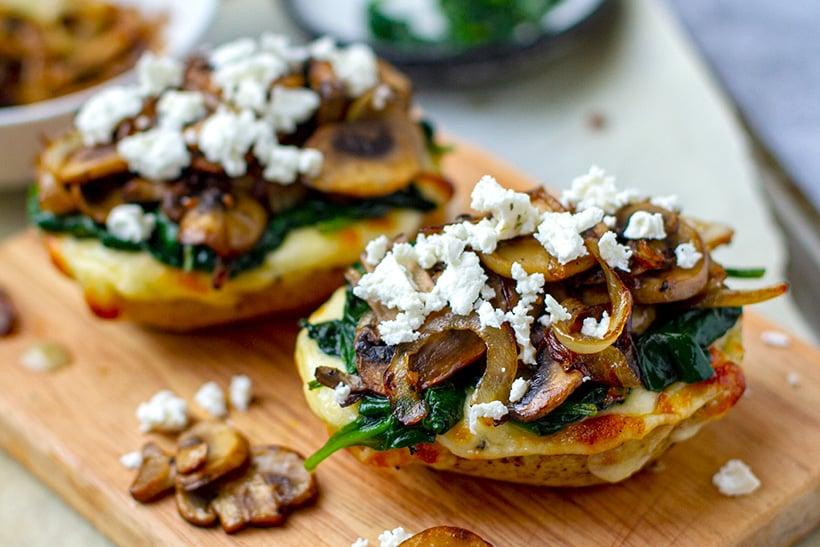 Mushroom spinach feta potatoes