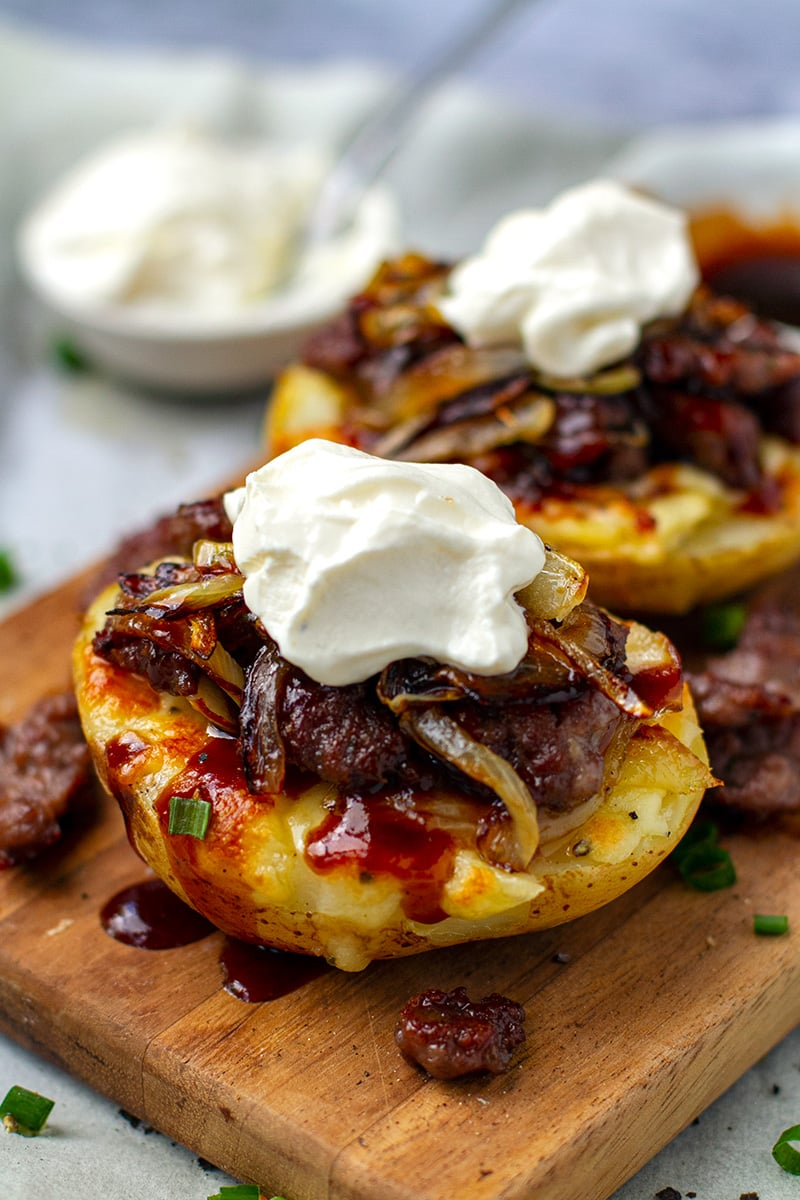 BBQ Sausage & Onions Stuffed Baked Potatoes