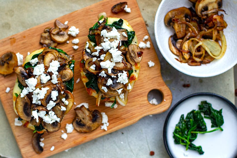 Baked potatoes with mushrooms and spinach