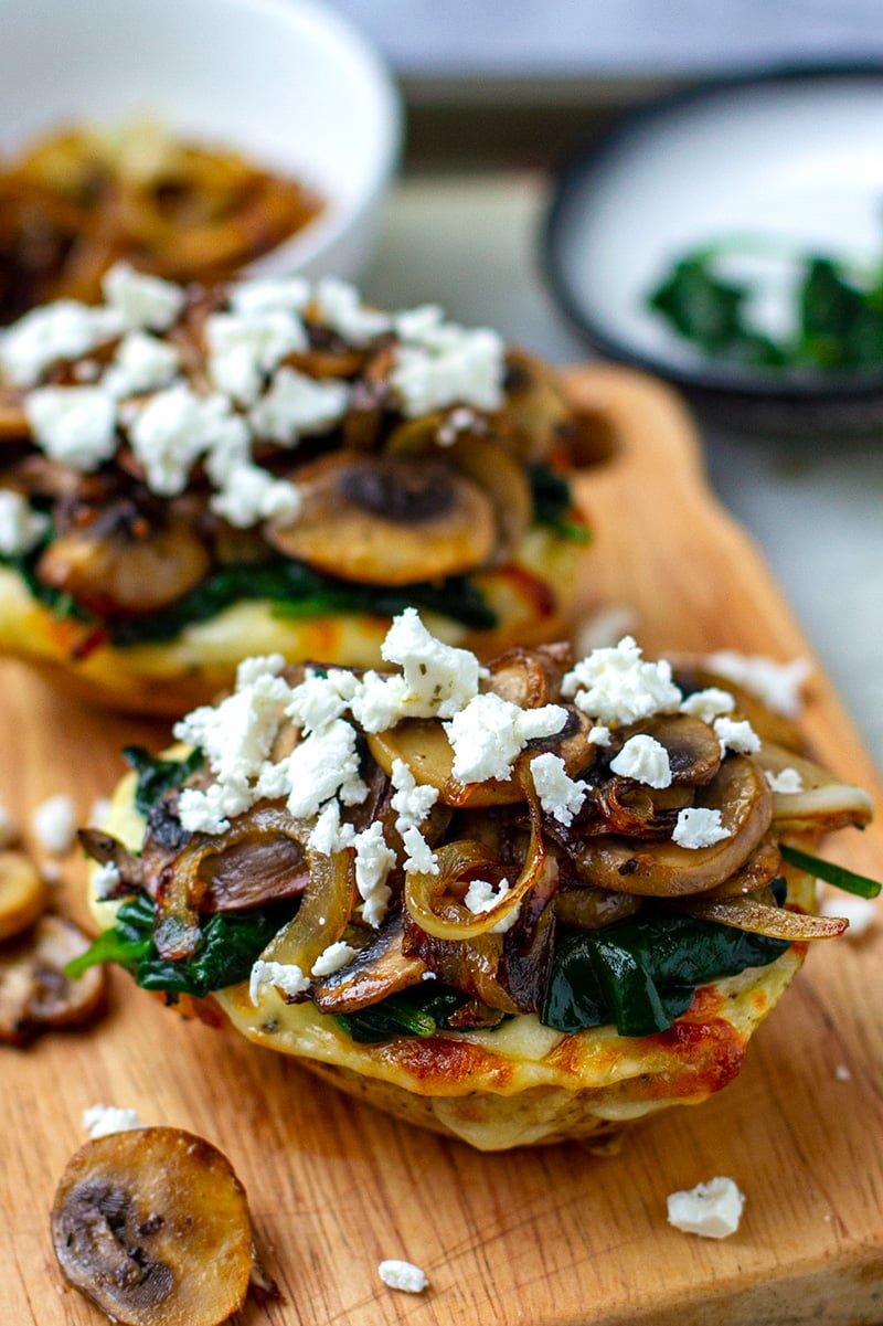 Stuffed Baked Potatoes With Mushrooms, Spinach & Feta