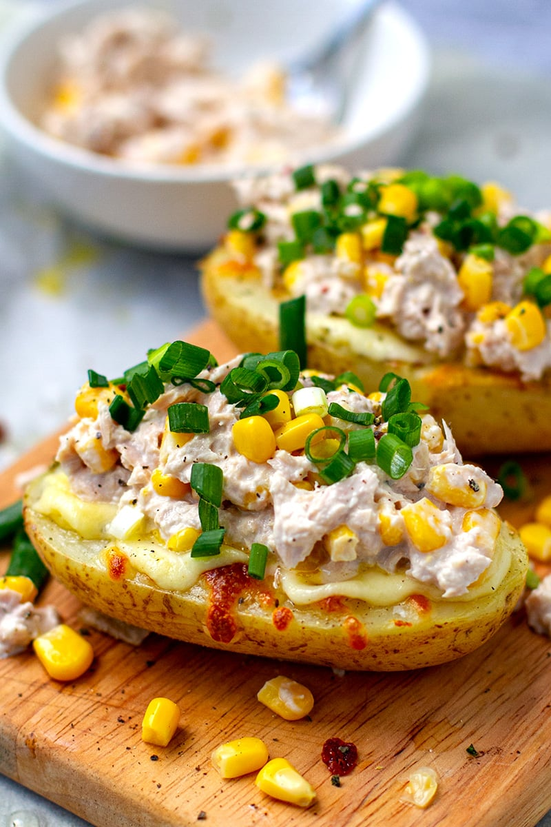 Tuna Stuffed Potatoes With Corn & Mayo