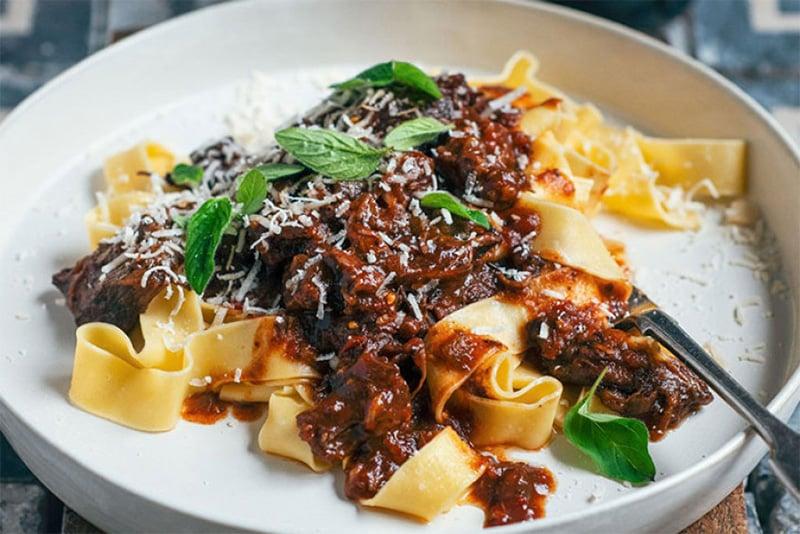 Beef cheeks ragu pasta