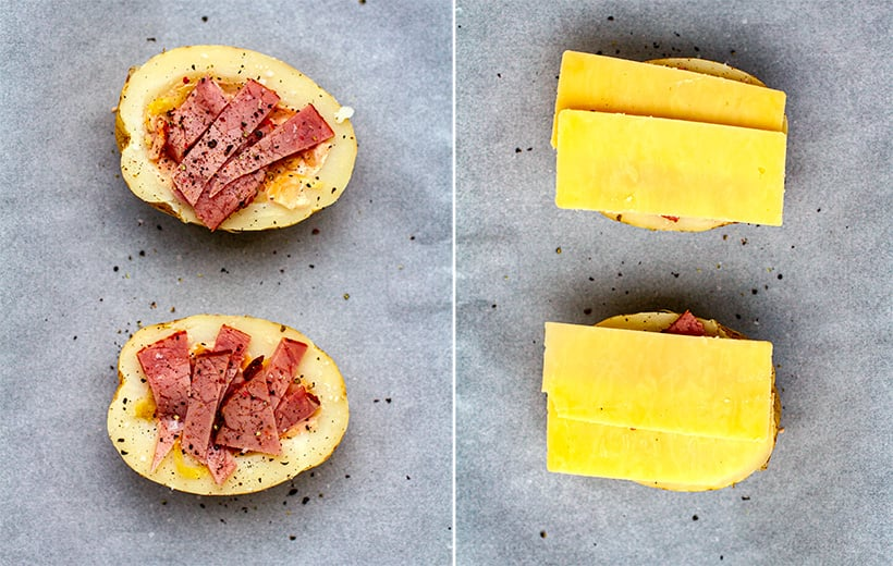 Grilling cheese and pastrami in stuffed potatoes