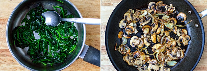 Wilted spinach and mushrooms